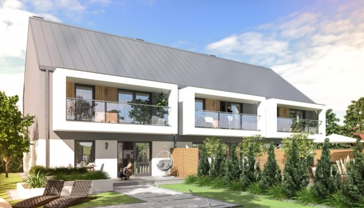 **Apartament 64,86 m²** z balkonem w zabudowie szeregowej
